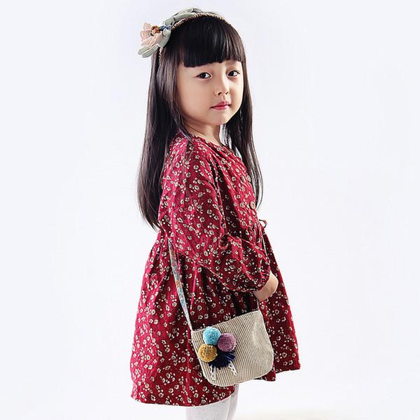Raged Koyun Bebek Kız Mini Messenger Çanta Hairball için Basit Çiçek Moda Çocuk Hediyeler Bebekler için Brithday Hediye Küçük Kızlar