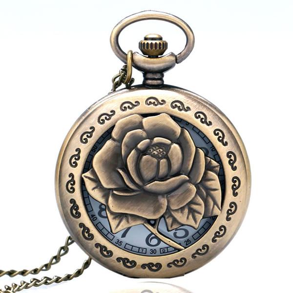 Collier Rose 3D creux Vivid Gravé Fleur Femmes Quartz Montre de poche infirmière Antique Pendentif chaîne pour dame Petite amie Cadeaux