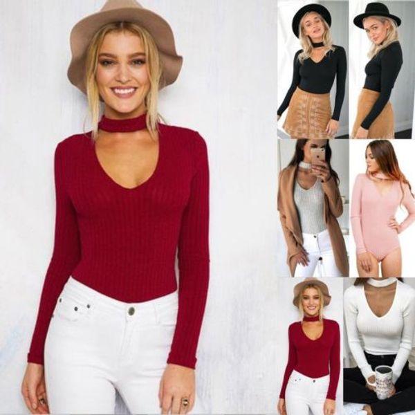 Fashion Women Long Sleeve Jumpsuit Bodysuit Stretch Leotard Top Jumpsuit