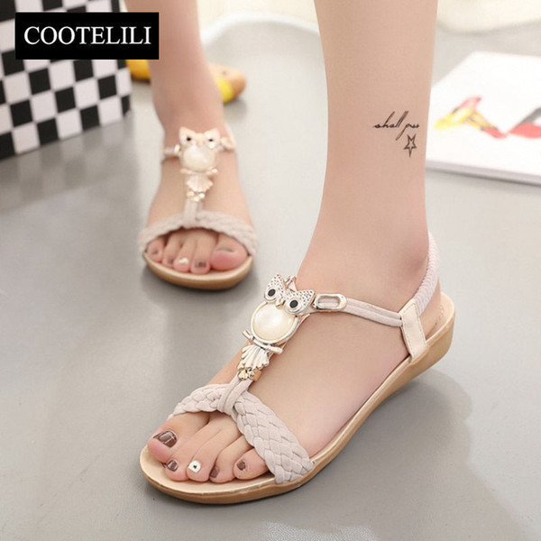 COOTELILI 36-40 Plus Size Summer Flat Woman Shoes Fashion Bohemian Sandals Crystal Owl Metal Buckle Flat Beach Sandalia Feminine