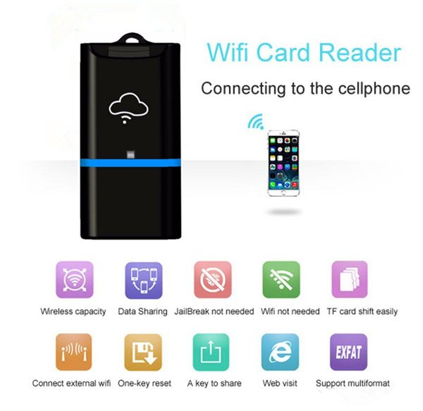 USB Wireless WiFi Card Rease WiFi Cloud Storage Flash Driver TF Micro SD Card Reader For iOS iPhone Windows Android