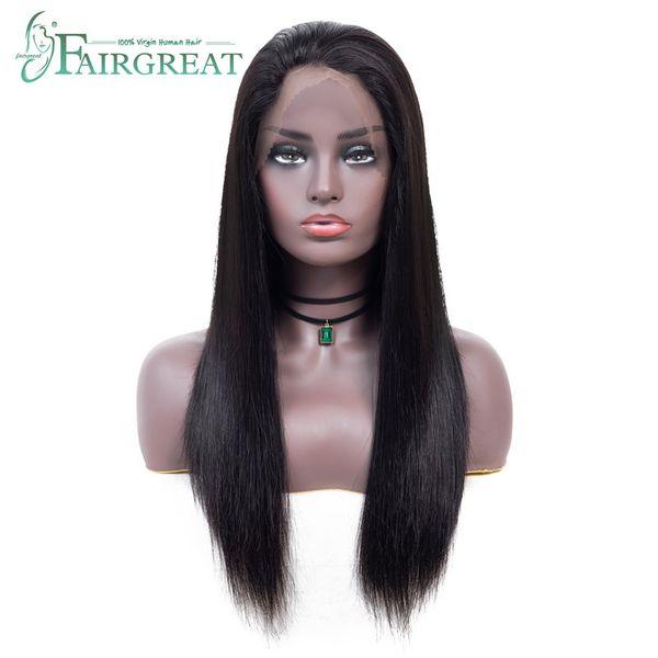 Cheveux bruts brésiliens droits avant de lacet perruques 150% densité 360 avant de lacets perruques avec des cheveux de bébé casquette réglable 100% de cheveux remy