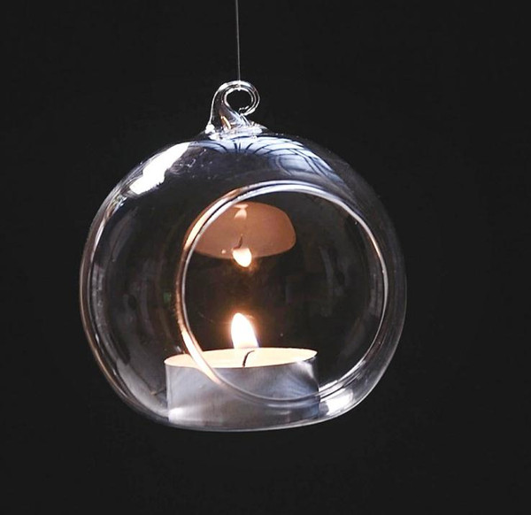 best selling Hanging Candle Holder Crystal Glass Candlestick Home Wedding Party Dinner Decor round glass air plant bubble crystal balls SN518
