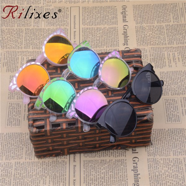 RILIXES High Quality 2018 Kids Sunglasses Brand Baby Girls Sunglass Children Glasses UV400 Goggles Eyewear Clear Pink Sunglasses