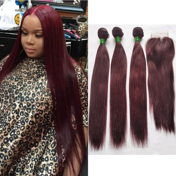 Brazilian Straight Human Hair #99J Burgundy 3 Bundles with 4X4 Middle Part Lace Closure Wine Red Hair Extensions Length 12-24 Inch 100g/Pcs