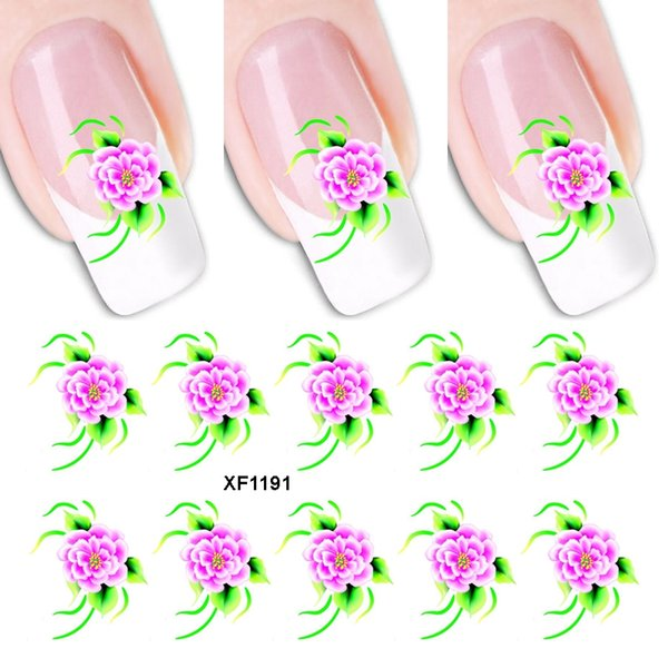 1PCS 3D DIY Flower Nail Art Stickers Water Transfer Decal Leaf Gradient Design Tattoo Manicure Art Decoration Wraps Tools Tips