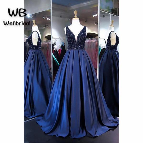 2018 Navy Blue Prom Dresses Long Double V Neck Sweet 16 Dresses