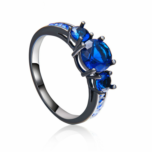 Simple Fashion Blue Round Zircon Rings for Women Men Vintage Black Gold Filled Birthstone Ring Wedding Jewelry Dropshipping FRING043