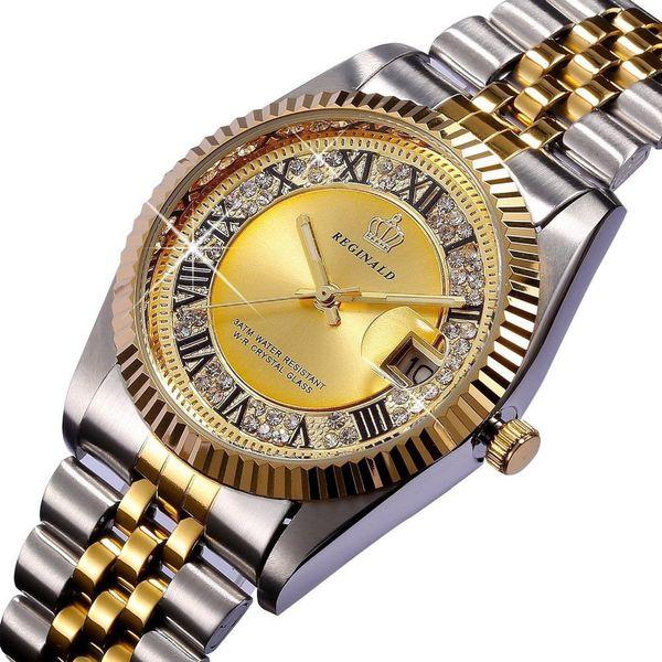 REGINALD Quartz Watch Men Datejust 18k Yellow Gold Fluted Bezel Pearl Diamond Dial Full Stainless Steel Luminous Clock