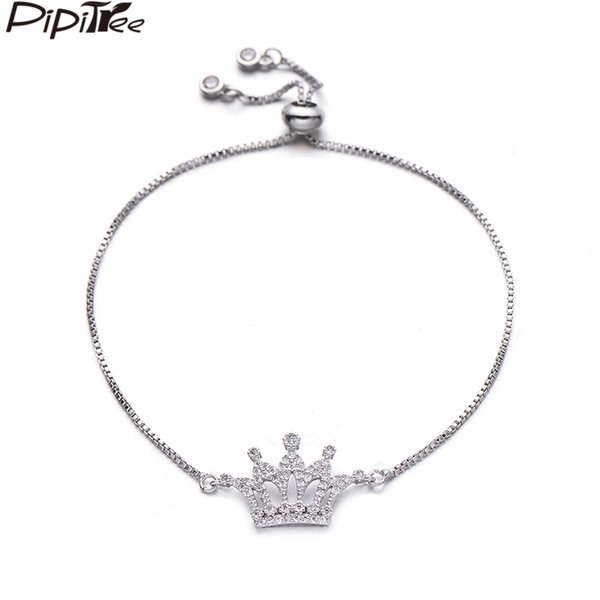 Pipitree Luxury Micro Paved Cubic Zirconia Princess Crown Bracelet Femme Copper Charm Slider Chain Bracelets for Women Jewelry