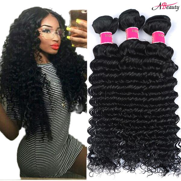 8A Brazilian Deep Wave Hair Bundles Unprocessed Brazilian Curly Remy Human Hair Weaves Natural Black Brazilian Virgin Hair Deep Wave