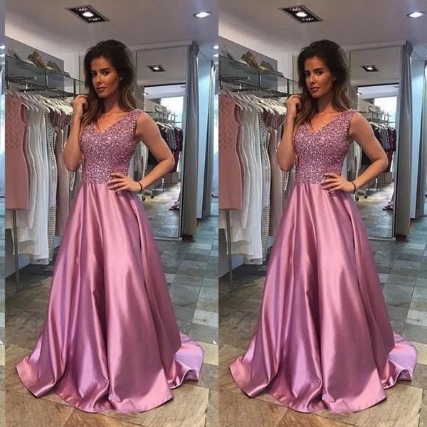 mother of the bride elegant evening formal dresses 2018 v neck a line beaded sequins bodice a line vintage pink satin prom dresses