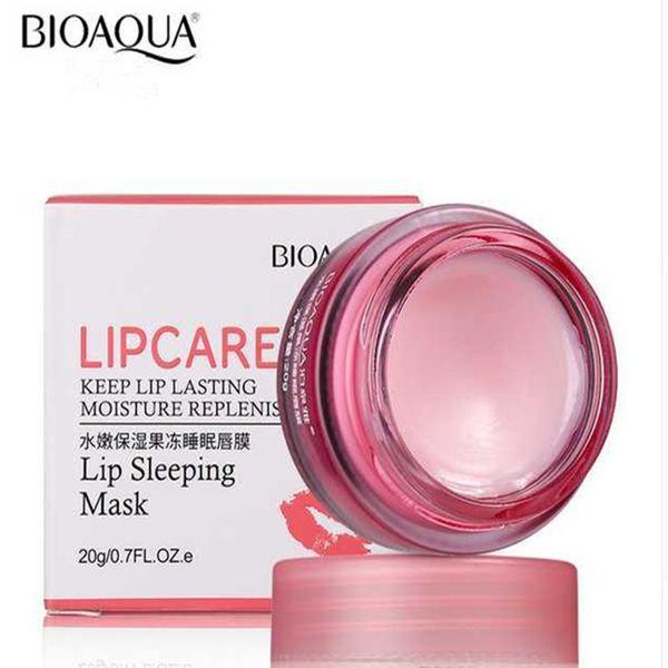 BIOAQUA Marke Strawberry Lip Schlafmaske Hautpflege Peeling Lippenbalsam Feuchtigkeitsspendende Pflegende Lip Plumper Feuchtigkeitscreme 20g