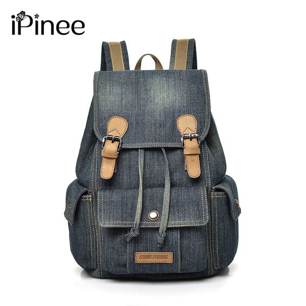 iPinee Girls Retro Denim Backpack Fashion Preppy Trendy Style Denim Cotton Women Backpacks Travel Bags School
