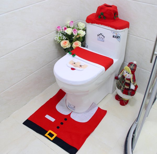 Red Christmas Interior 3pc/set Christmas Decoration Xmas Happy Santa Toilet Seat Cover and Rug Bathroom New Year home decorations