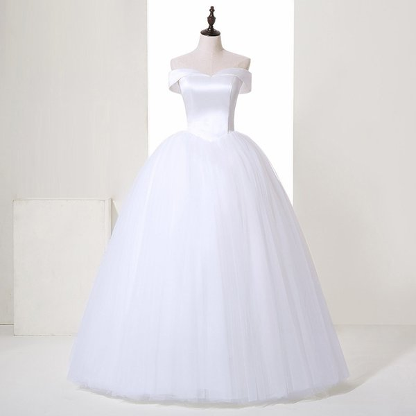 Cheap Hot Sale White Ball Gown Real Photos Off-Shoulder Tulle Bridal Gowns Sexy Back Floor-Length Simple Wedding Dress