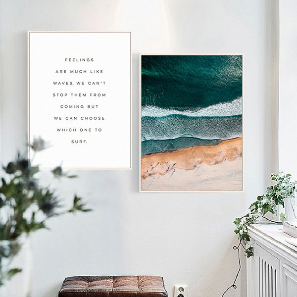 HAOCHU Nordic Canvas Painting Living Room Decorative Posters Modern Simple Landscape Creative Photography Sea Waves Writing