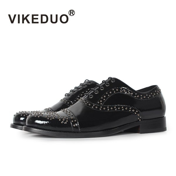 Vikeduo 2017 Handmade Lace-up Fashion Casual Luxury Party wedding Dance male shoe Black Genuine Leather Men Oxford Dress Shoes