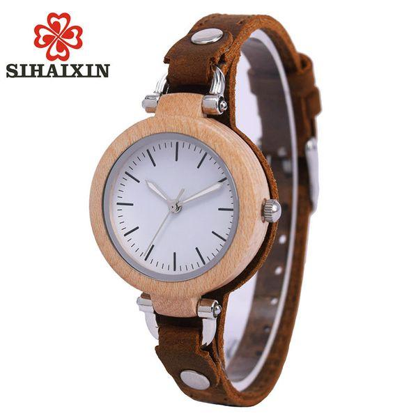 SIHAIXIN Lady Casual Vogue Design Small Bracelet Women Wooden Quartz Watches Top Brand Luxury Girl Hand Clock Birthday Gift 2018 Y1890304