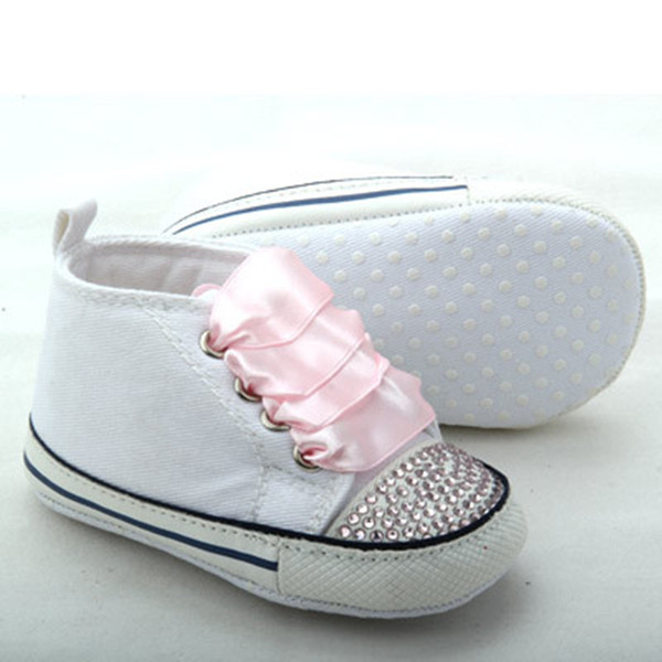Handmade Baby Bling Shoes Shining Crystal Pink Ribbon Infant Canvas Shoes Newborn First Walkers Christening Princess Prewalker
