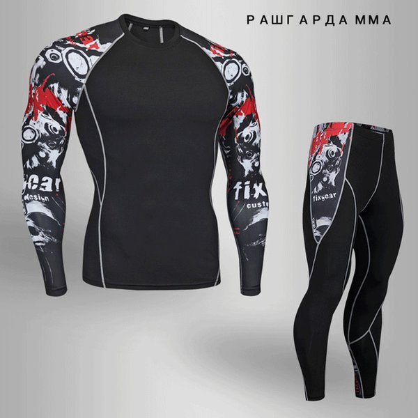 2018 winter crossfit t-shirts Leggings set men clothing thermal underwear rashgard MMA compression 2 piece tracksuit men Brands
