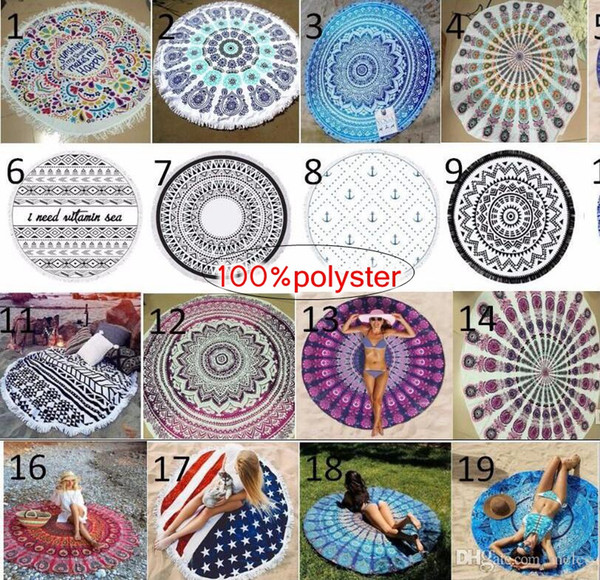 best selling INS 40Designs Choose Free Round Donut Pizza Hamburger Towel Beach Cover Ups woman Beach Towel Chiffon Swimsuit Cover Up Yoga Mat Dim150cm