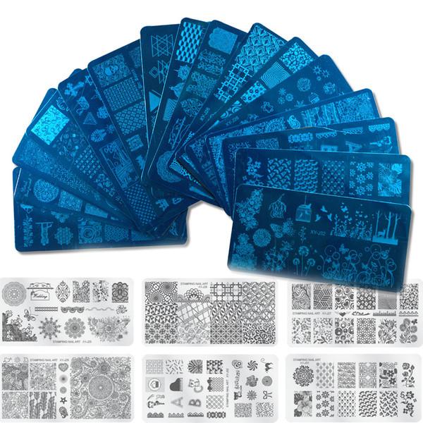 12x6 cm 5 adet / grup Yeni 16 Tasarımlar Çiçek / Noel DIY Lehçe Damgalama Tırnak Damga Şablonları Tırnak Sanat Plakaları Çivi Araçları XYJ17-32