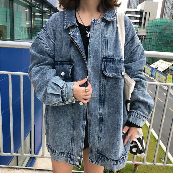 Jean Jacket 2018 Women Batwing Sleeve Loose Korean Outerwear Women's Denim Jacket Women Autumn Winter Jeans Jacket Ladies Coats