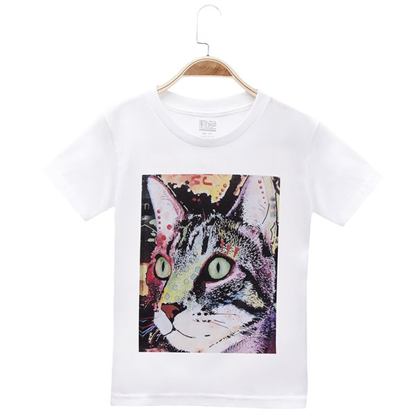 2018 Hot Sele Casual Children Clothes Girls T-shirts Cat Print 100% Cotton Short Kids Clothing Child T Shirt Baby Top 3-12Y Free Shipping