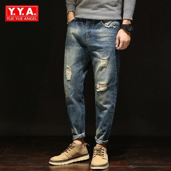 Denim Jeans Men Harem Pants Spring Autumn New Mens Hole Ripped Jeans Plus Size 42 Loose Fit Classical Jeans for Men Blue Pants