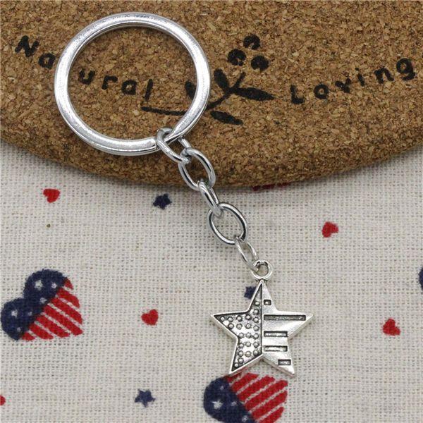 30pcs Fashion Diameter 30mm Metal Key Ring Key Chain Jewelry Antique Silver Plated usa flag star 23*20mm Pendant