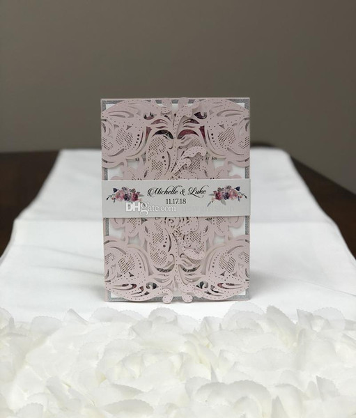 Gorgeous Blush Silver Laser Cut Wedding Invitation Light Pink Shimmer Dinner Invites with Belly Band Free Printing Free Shipping by DHL