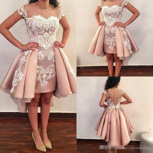 Dusty Pink Short Prom Dresses Sheer Neck Lace Appliques High Low Evening Gowns Illusion Back Covered Buttons Homecoming Party Dress Cheap