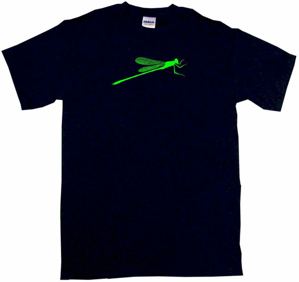 Dragonfly GREEN Insect Men's Shirt Pick Size SM Color S/S L/S or Sleeveless Funny free shipping Unisex Casual tee gift