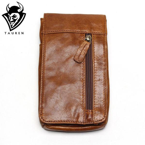 2018 Genuine Leather Vintage Waist Packs Men's Travel Fanny Pack Belt Loops Hip Bum Bag Waist Bag Mobile Phone Pouch
