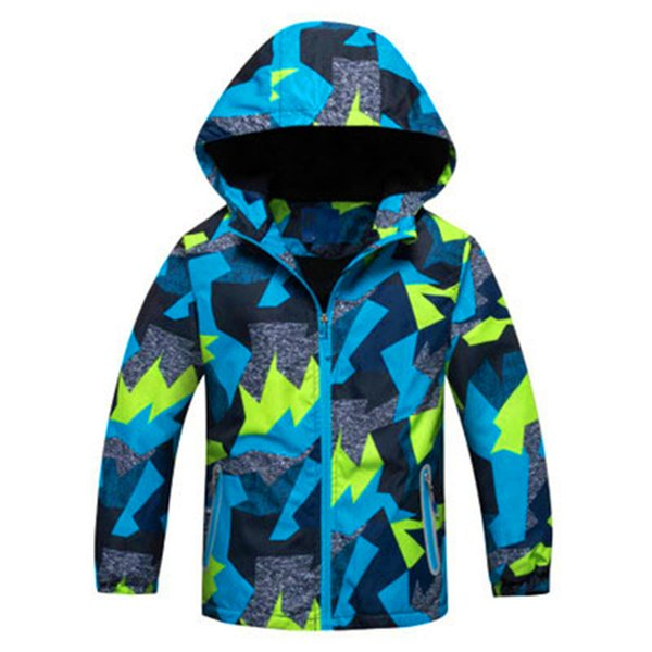 Windproof Full Sleeve Plus Size Boys Coat Camouflage Hooded Cartoon Sport Clothing Waterproof Hot Sale Children Skiing Jackets