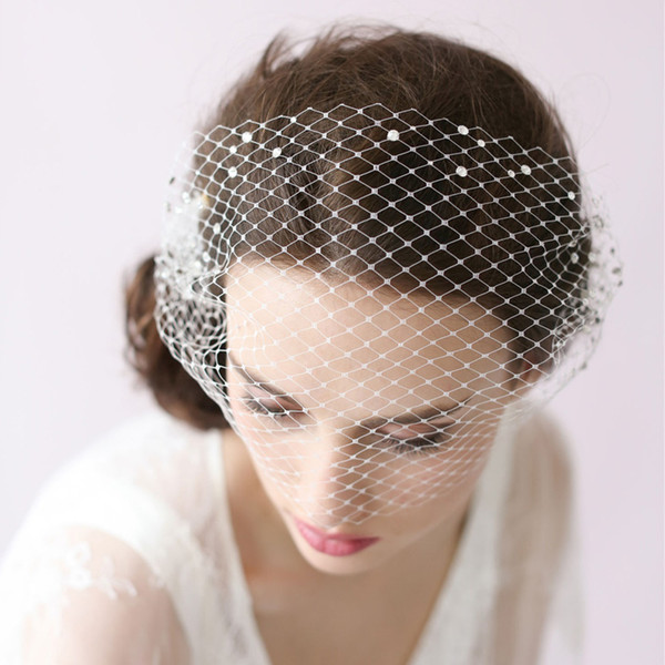 Vintage Birdcage Wedding Veils Face Blusher Wedding Hair Pieces One Tier With Beads Comb Short Bridal Headpieces Bridal Veils #V015