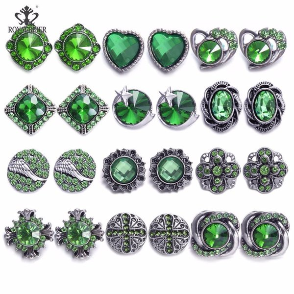 ROYALBEIER 24pcs/lot 12mm Mixed 6 Colors Metal Rhinestone Snap Button For DIY Personality Elegant Earrings Jewelry Making MM0004