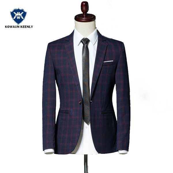 Autumn Winter Classic Men Plaid Blazer Jacket SIngle Button Slim Fit Blue Vintage Suit Jacket Outwear Wine Red Coats M-3XL