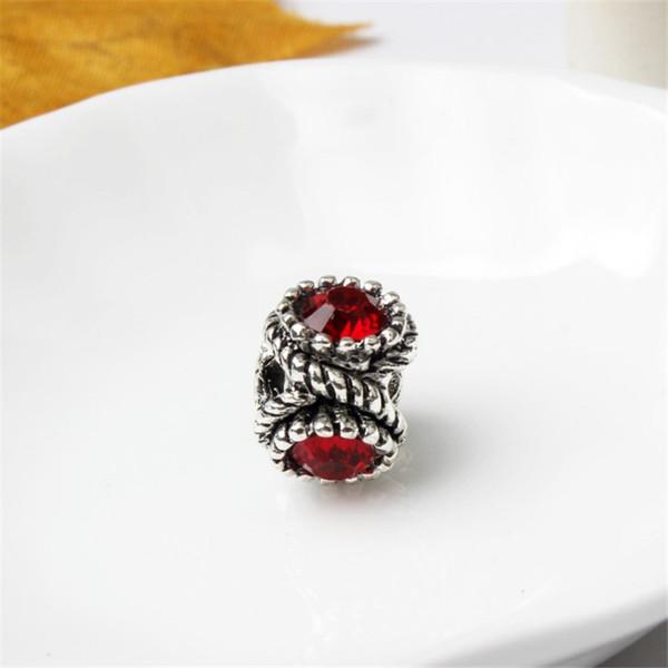 Big Heavy Charm Bead With Red Crystal Rhinestone Big Hole Fashion Women Jewelry European Style For Pandora Bracelet