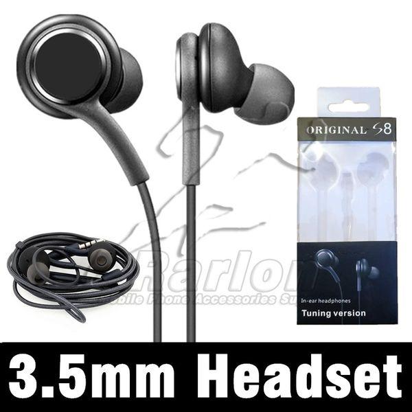 Neue S8 Kopfhörer Echte schwarze In-Ear Kopfhörer Stereo Sound Kopfhörer Freisprecheinrichtung für Galaxy S9 Hinweis 9 Android Phone OEM Earbuds