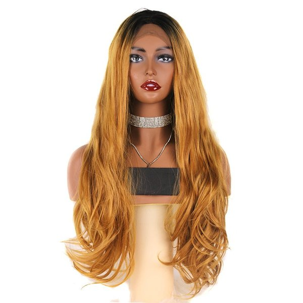 Top Quality Dark Roots Ombre Blonde Long Wavy Synthetic Lace Front Wigs Middle Part Heat Resistant 180% Density Glueless Lace Wigs for Women