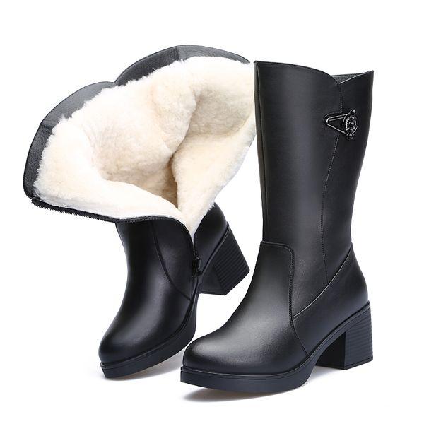 2018 Yeni Sıcak Konfor Yün Kış Çizmeler Kar Botları Kadın Ayakkabı Yüksek Topuklu Şövalye Siyah Inek Derisi Deri ile Kalın