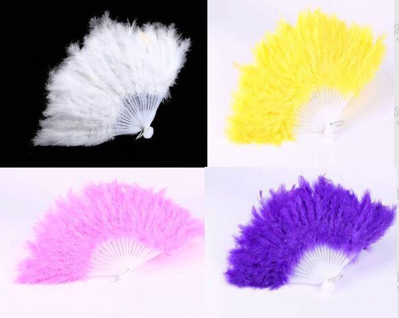 Hermosa abanico de plumas para accesorios de baile Traje de disfraces de disfraces a mano de boda