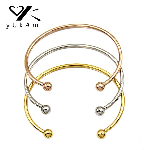YUKAM Women Silver Rose Gold Stainless Steel Expandable Wired Bangles Bracelets Adjustable Ball Beads Open Cuff Bangles Jewelry
