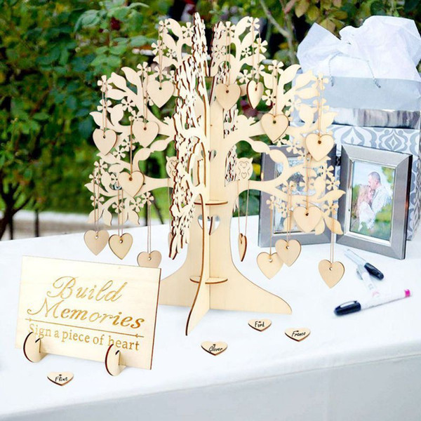 Sign Guest Book Tree Signature Guest Books Wooden Hearts Pendant Ornaments For Wedding Party Decor Supplies