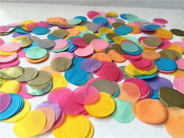30 g / pack 2.5 cm / 1 pulg. Neon Love Circle Shape Paper Tissue Paper Confetti Dots Mixed Colors Wedding Party Decoraciones de mesa