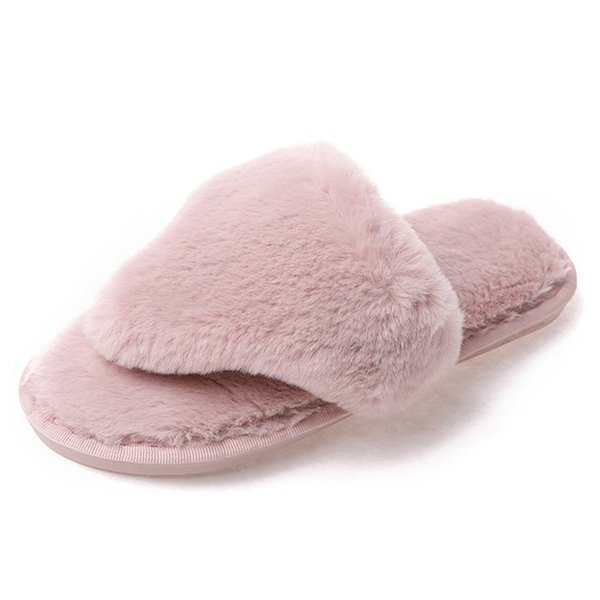 Women Flip Flop Slippers 2018 Winter Warm New Ladies Slip On Slides Fluffy Faux Fur Flat Slipper Zapatos Mujer Plus Size 36~41