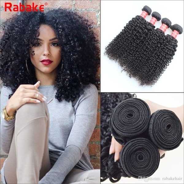 Rabake Peruvian Curly Human Hair Weaves 100% Virgin Unprocessed 8A Brazilian Malaysian Indian Peruvian Jerry Kinky Curls Hair Extensions