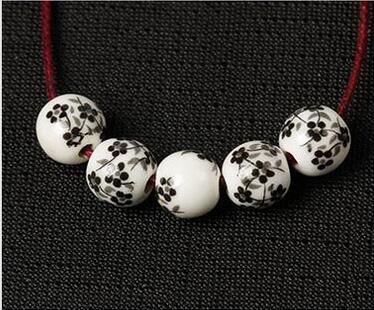 100 teile / los Blumendruck Porzellan Runde Perlen 10mm Handwerk Keramik Charme Spacer DIY Schmuck Machen Perlen